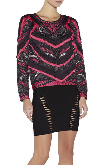 Everly Crochet Mesh Jacquard Top