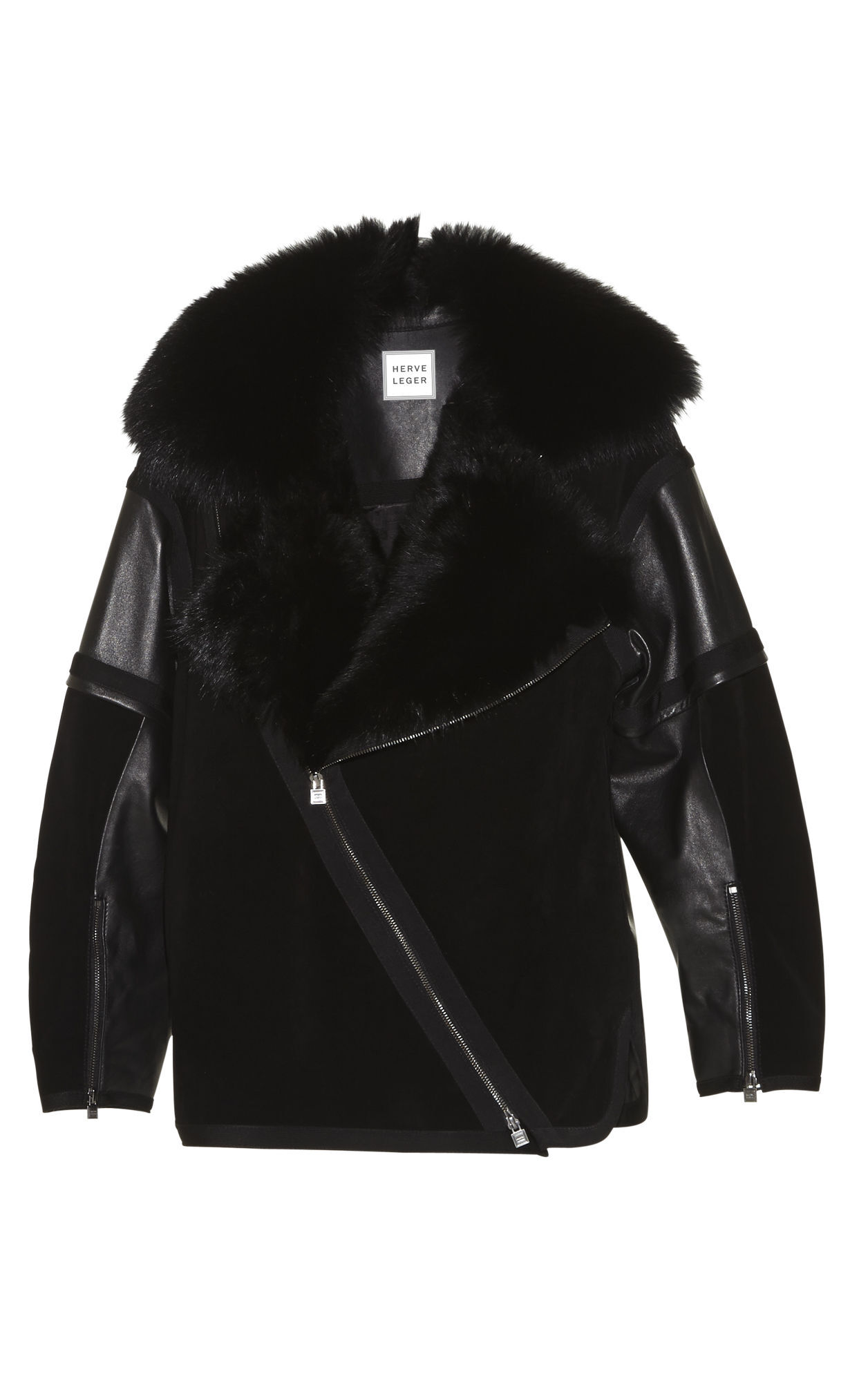 Spencer Fox-Collar Oversized Suede Jacket