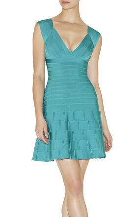 Mirah V-Neck Ruffled Hem Dress