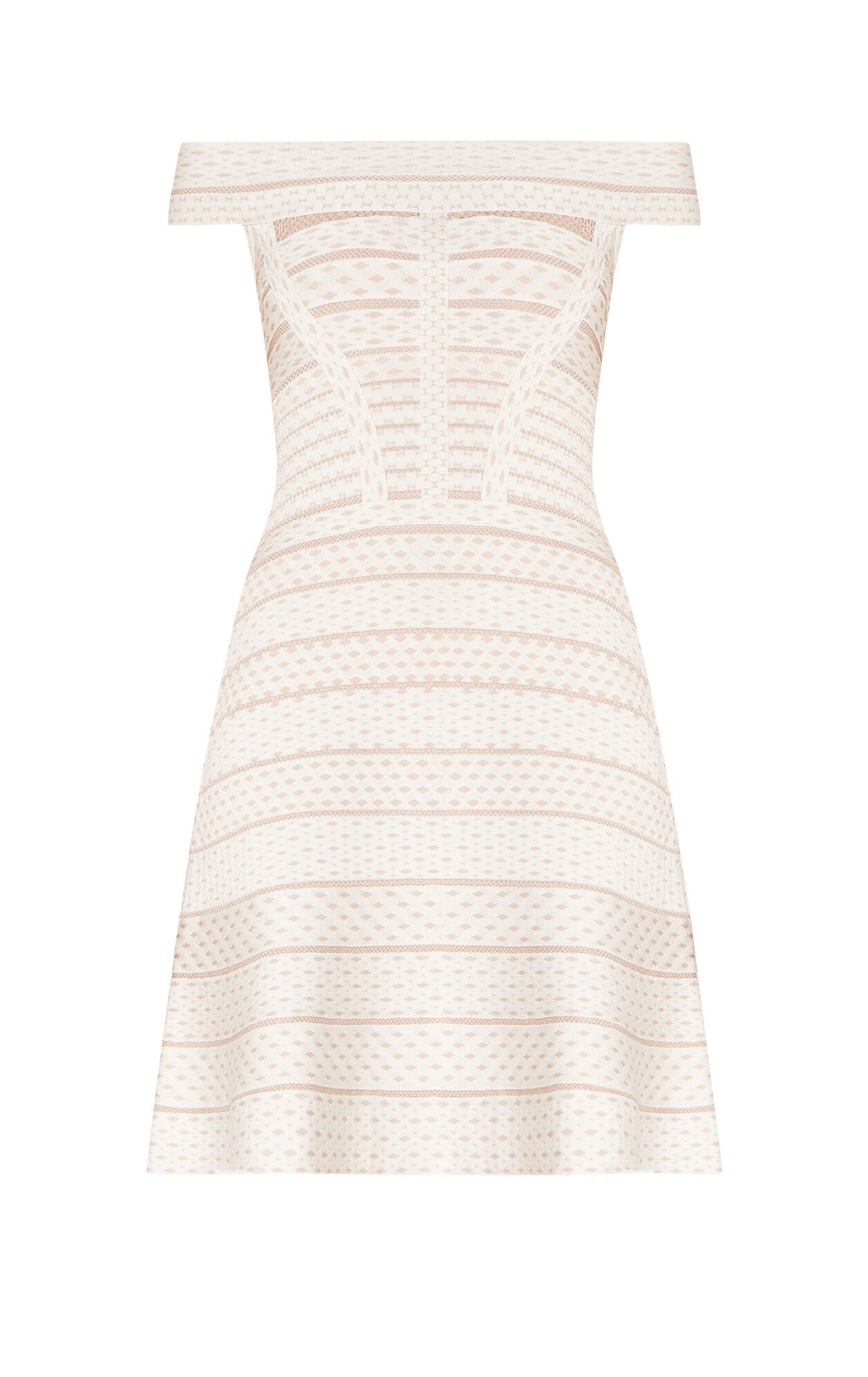 Camira Jacquard Mesh Off-Shoulder Flute Dress