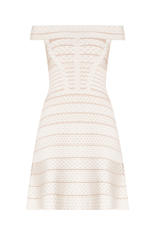 Camira Jacquard Mesh Off-Shoulder Flute Dress