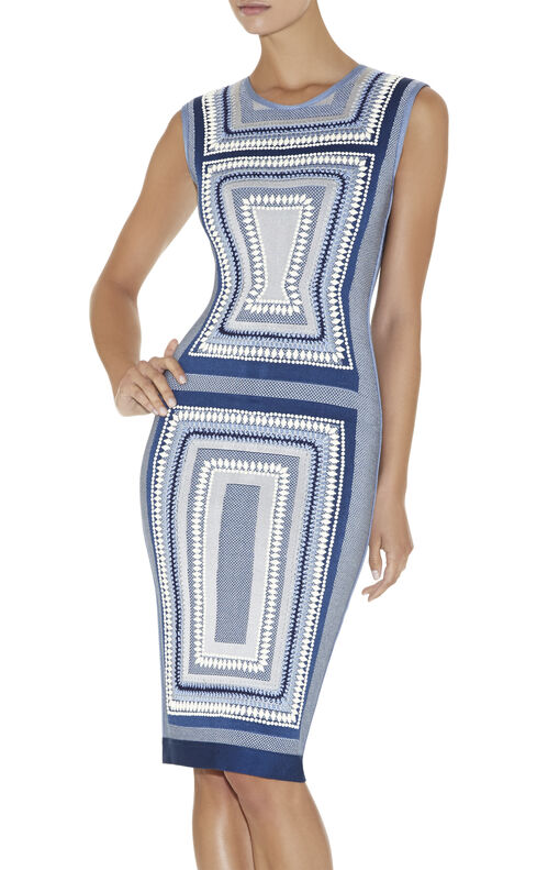Adrianne Geometric Maze Texture-Blocked Dress