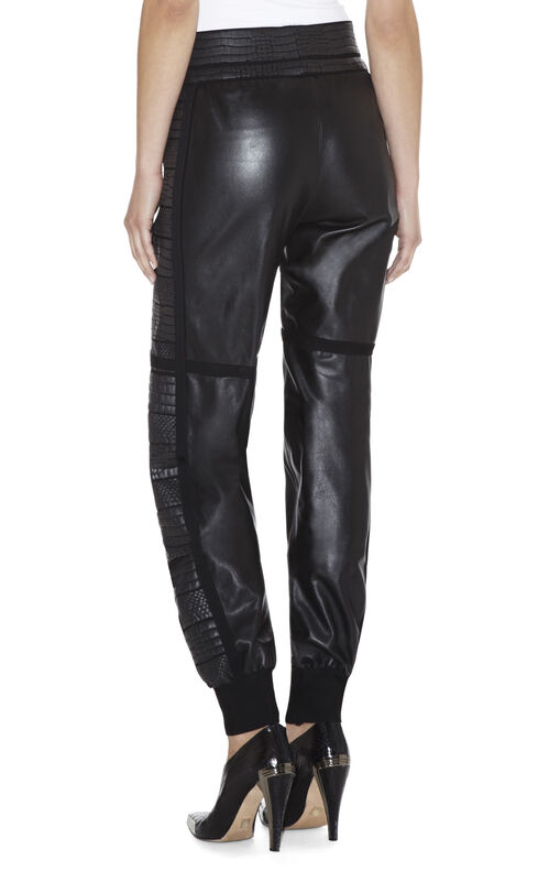 Remi Textured-Panel Leather Pant