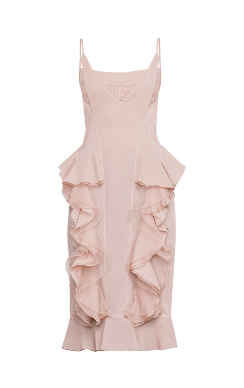 Anais Ruffled Sheer Chiffon Slip Dress