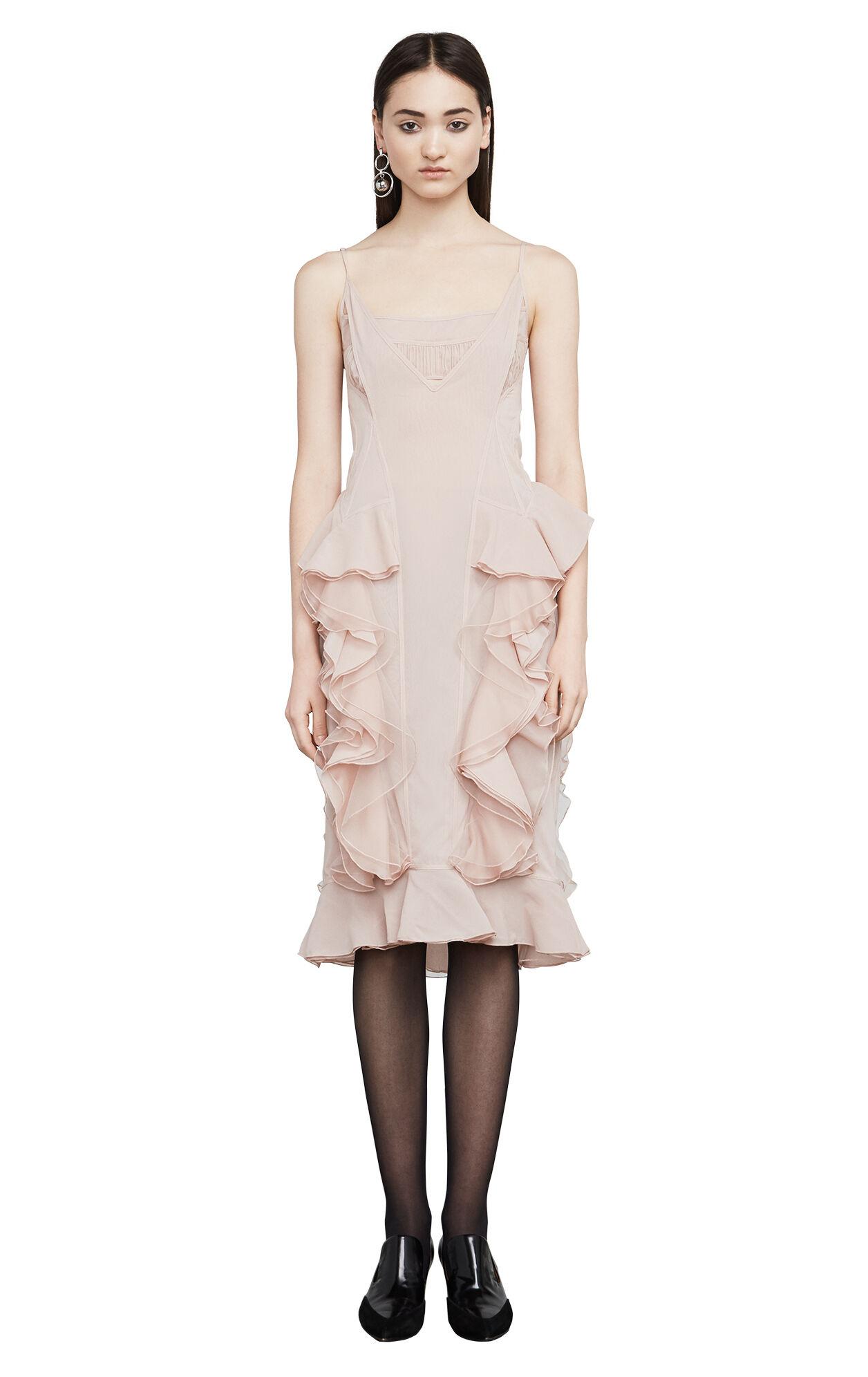 Anais Ruffled Sheer Chiffon Slip Dress