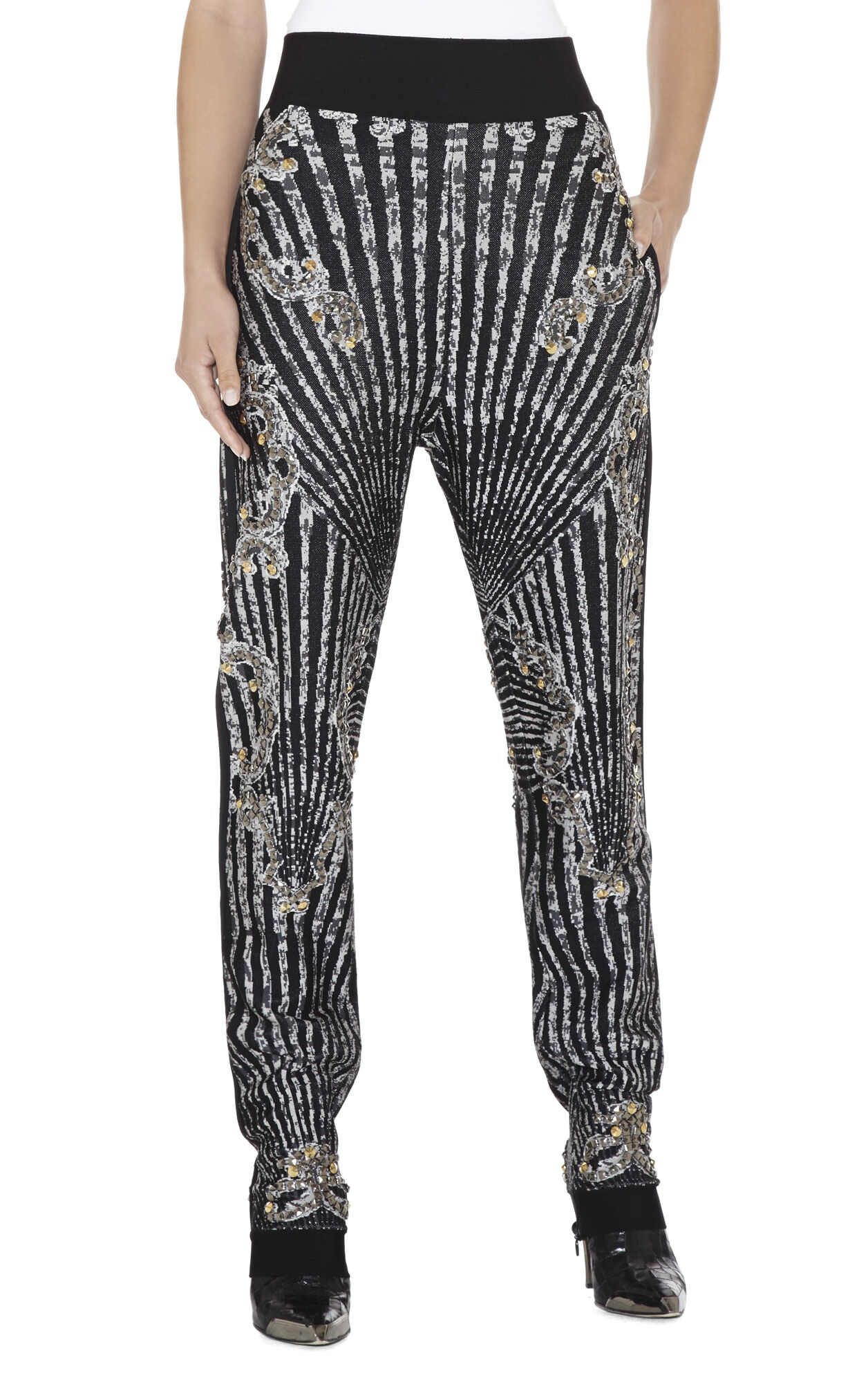Shawn Scroll Jacquard Studded Pant