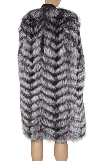 Vlada Chevron Fur and Leather Combo Cape