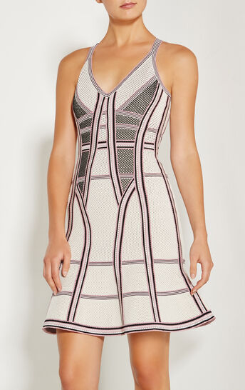 Cassandra Pointelle Texture Striped Dress