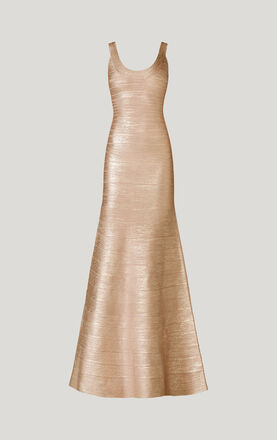 Ellen Woodgrain Foil-Print Dress
