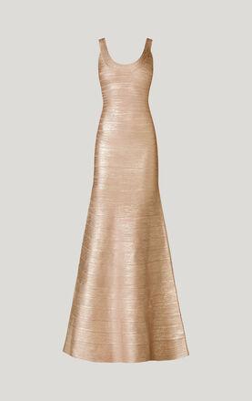 Ellen Woodgrain Foil-Print Dress