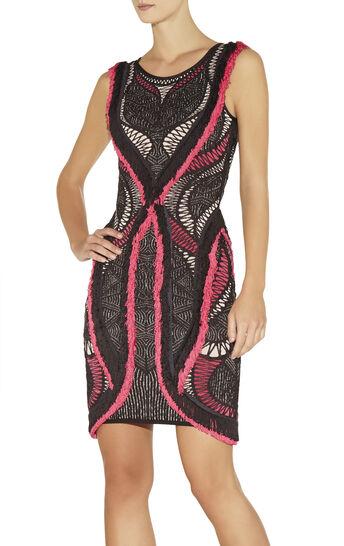 Mena Crochet Mesh Jacquard with Fringe Detail Dress