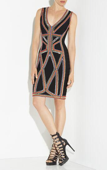 Adanna Crochet Beaded Jacquard Dress