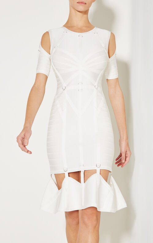 Alecia Ribbon Bandage D-Ring Flute Dress