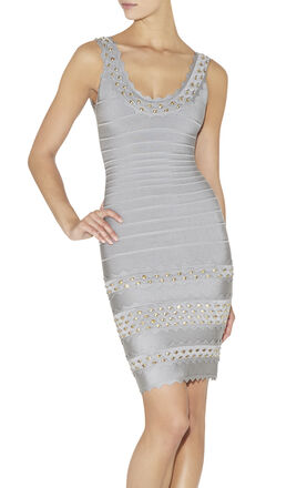 Saige Studded Honeycomb Jacquard Dress