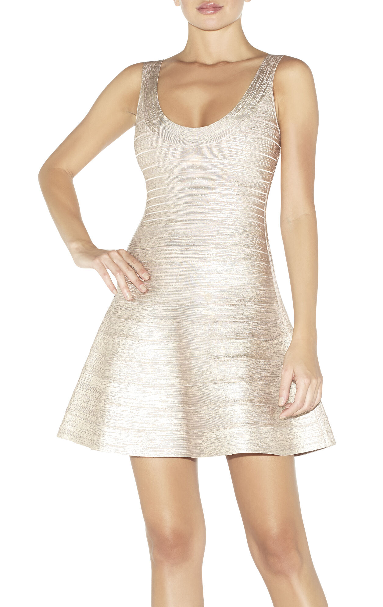 Eva Woodgrain Foil-Print Dress