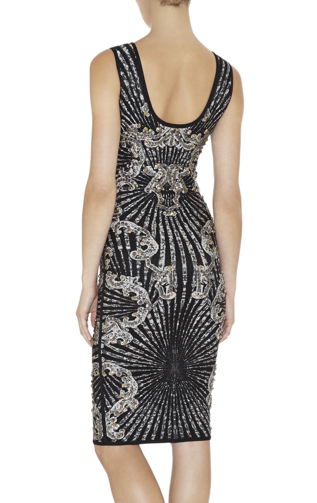 Alisa Scroll Jacquard Studded Dress