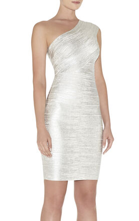 Josephine One-Shoulder Foil-Print Dress