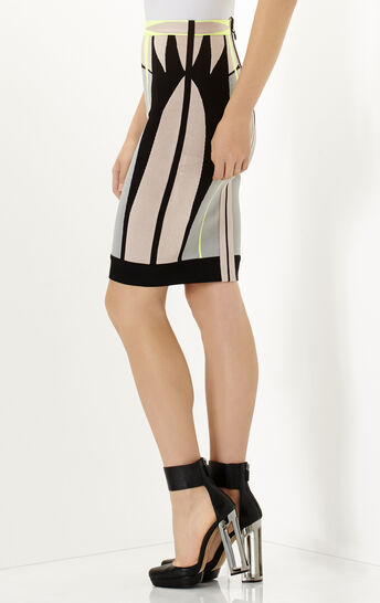 Evy Engineered Colorblocked Jacquard Skirt