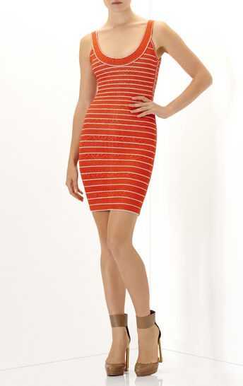 Indra Multi Chevron Texture Tipping Dress