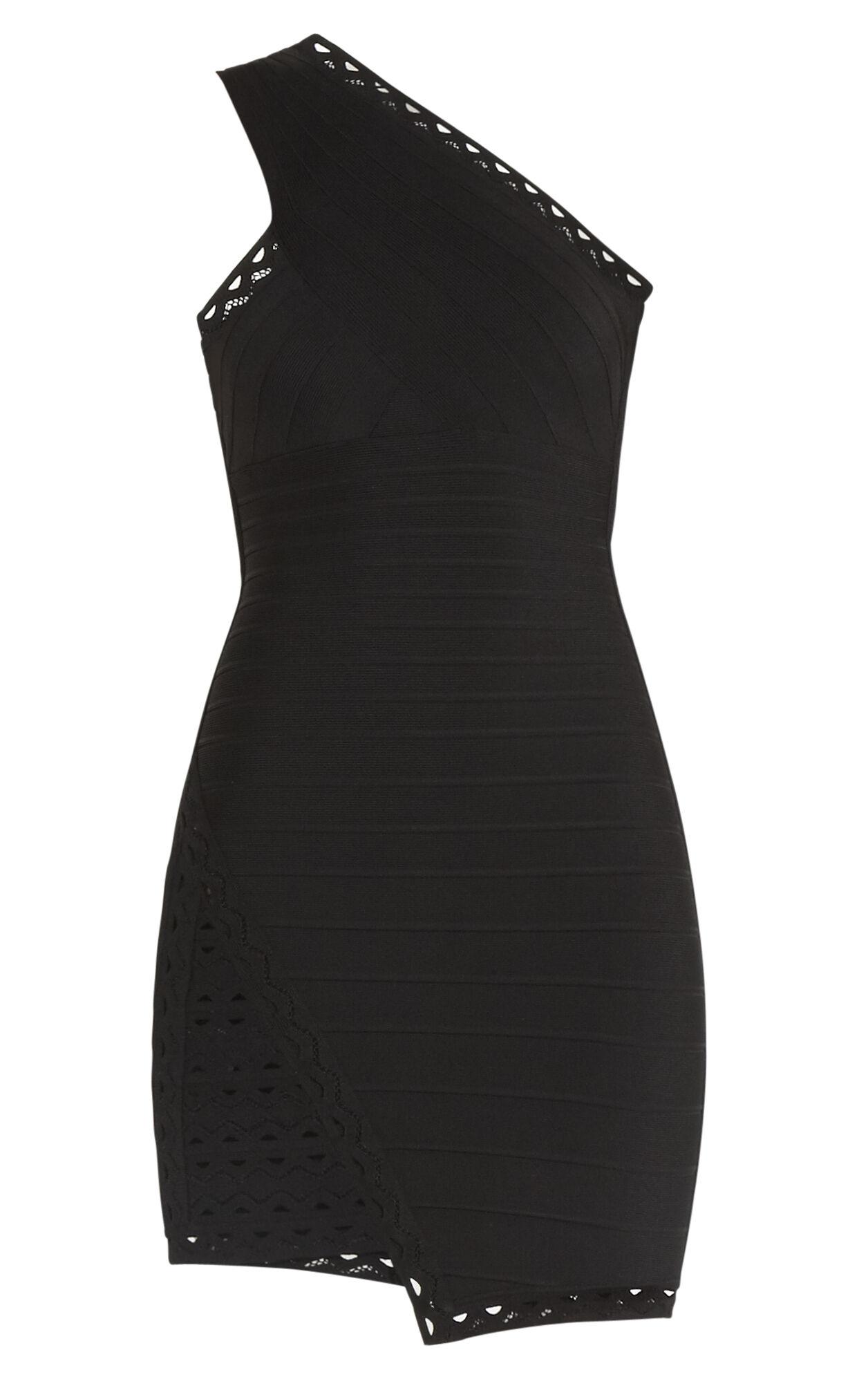 Orleana One-Shoulder Scallop Embroidered Dress