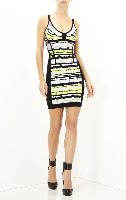 Rachael Striped Ripple Jacquard Dress