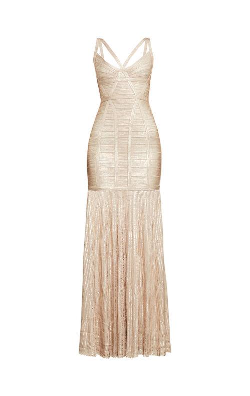 Zhenya Woodgrain Foil-Print Bandage Gown