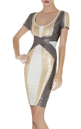 Carolyn Colorblocked Foil-Print Dress