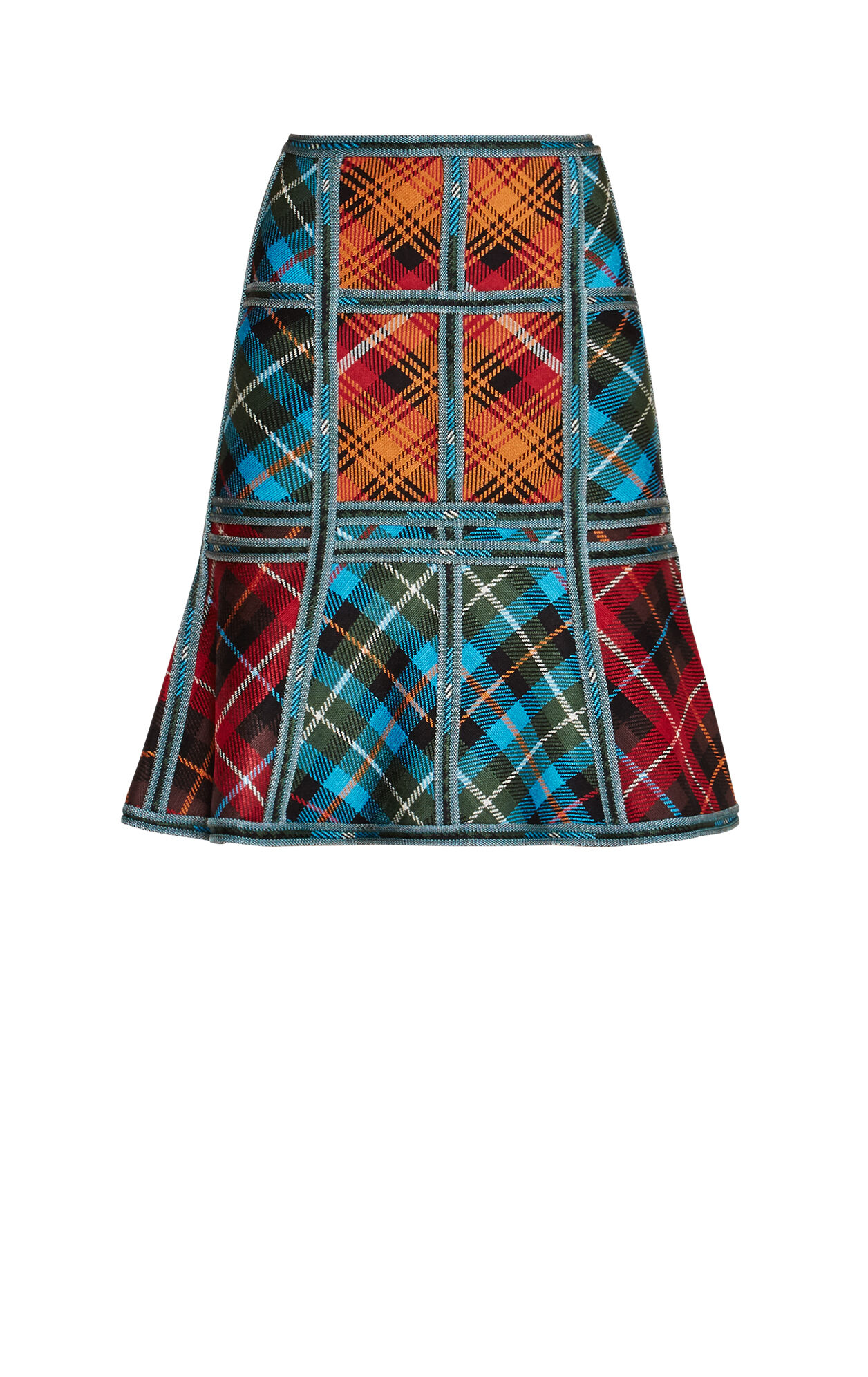 Janine Plaid-Blocked Caging Detail Skirt