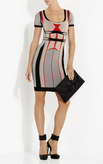 Gabi Engineered Colorblocked Jacquard Dress