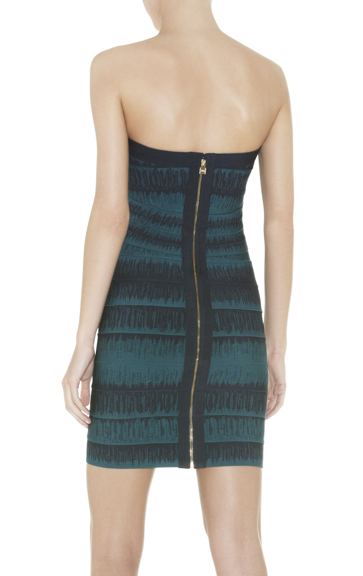 LESLEY FADED-STITCH STRAPLESS BANDAGE DRESS