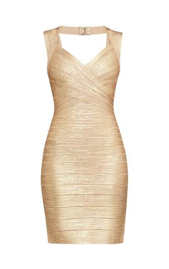 Iman Foil Bandage Dress