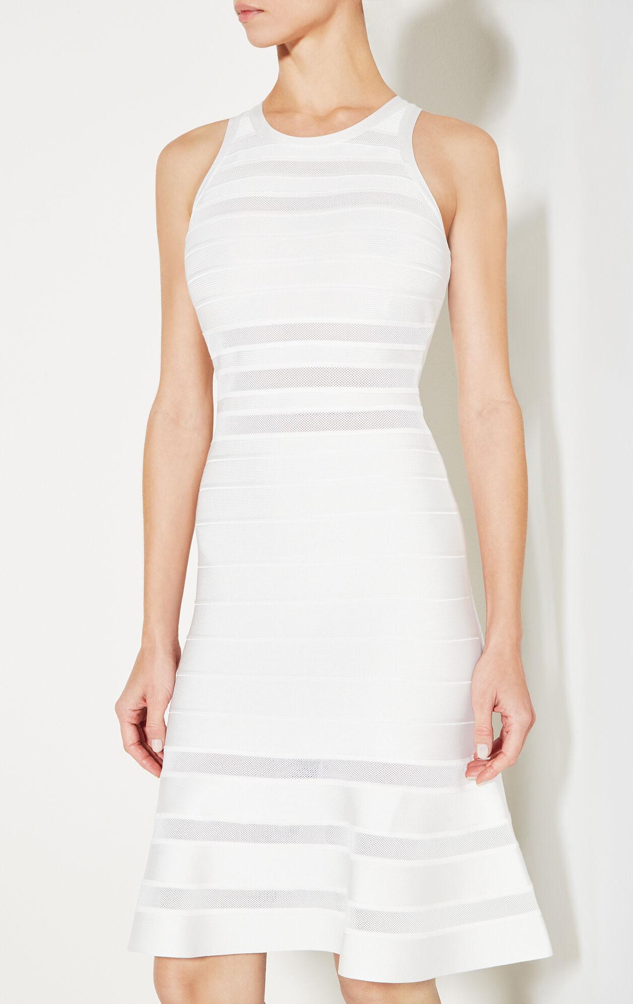 Adriane Mesh Inset Bandage Flute Dress