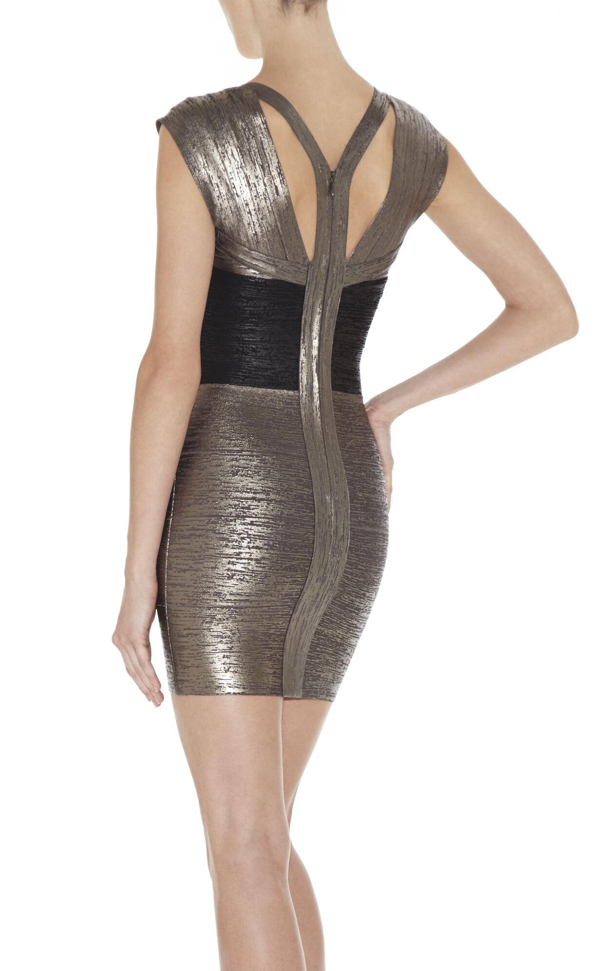 MELENA FOIL-PRINT BANDAGE DRESS