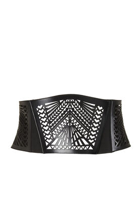 Laser-Cut Leather Waist Corset