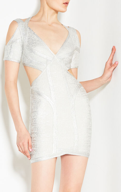 Desiree Foil Crochet Jacquard Dress