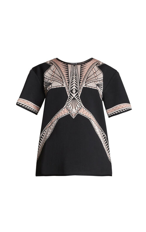 Dahlia Tattoo-Jacquard Top