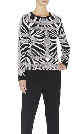 Ronja Chain Detail Zebra Jacquard Top