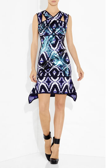 Natalia Sequined Ikat Jacquard Wave Dress