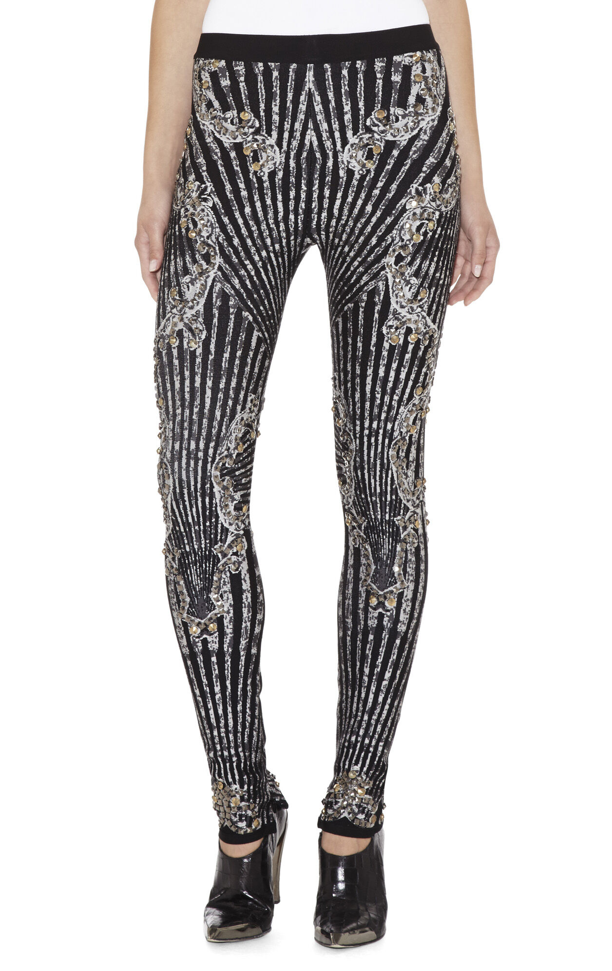 Enzo Scroll Jacquard Studded Pant
