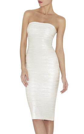 Kamryn Pearlized Woodgrain-Print Dress