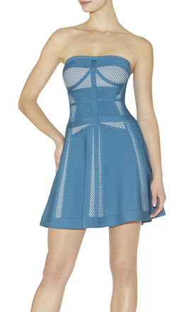 Kari Multitexture Mesh-Blocked Dress