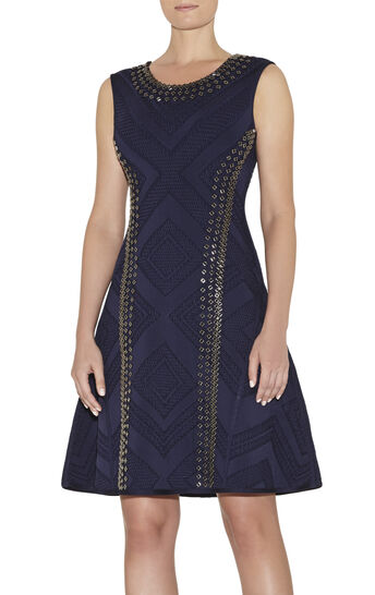 Jaclyn Engineered Textured Beading Dress