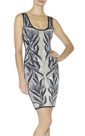 Franka Batik-Leaf Jacquard Dress