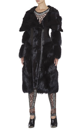 Onyx Fur Trench Jacket