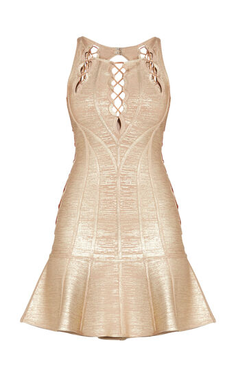 Audrianna Allover Foil Scalloped Cutout Dress
