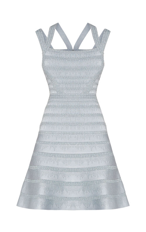 Carole Metallic Crochet Dress