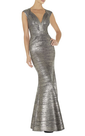 Leslie Woodgrain Foil Print Gown