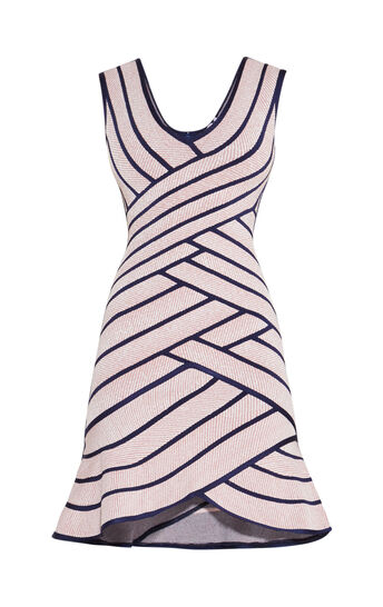 Millie Striped Twill Raised Jacquard Dress