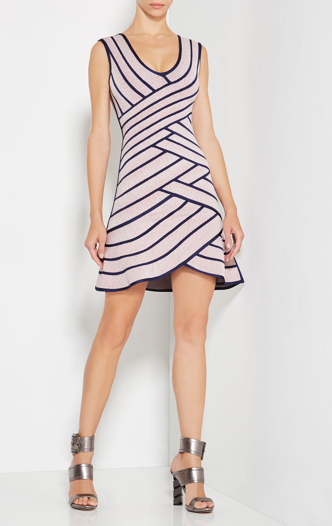 Millie Striped Twill Raised Jacquard Dress