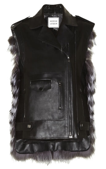 Alex Chevron Fur and Leather Combo Vest